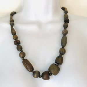 Jewelry - Green Wooden Unique Multi Shaped Beaded Necklace